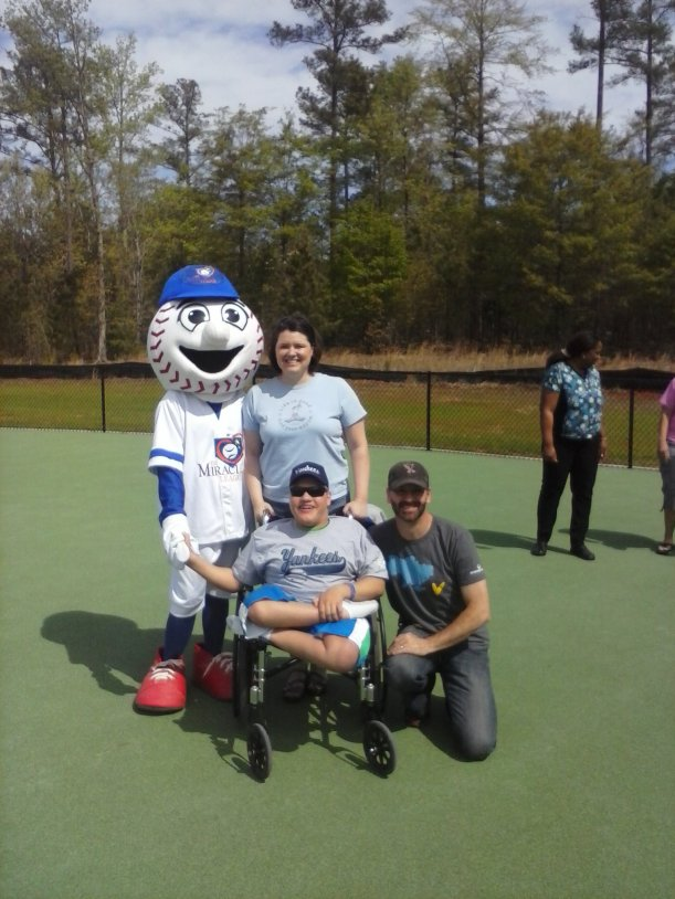A Miracle League picture with the mascot Homer!